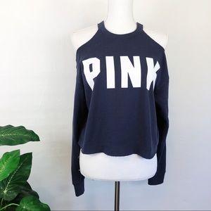 PINK • Cold Shoulder Cropped Crewneck Sweatshirt